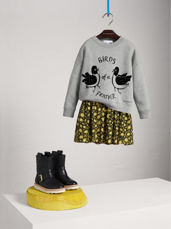 "Sweatshirt aus Baumwolle mit ""Birds of a Feather""-Motiv (Grau Meliert)"