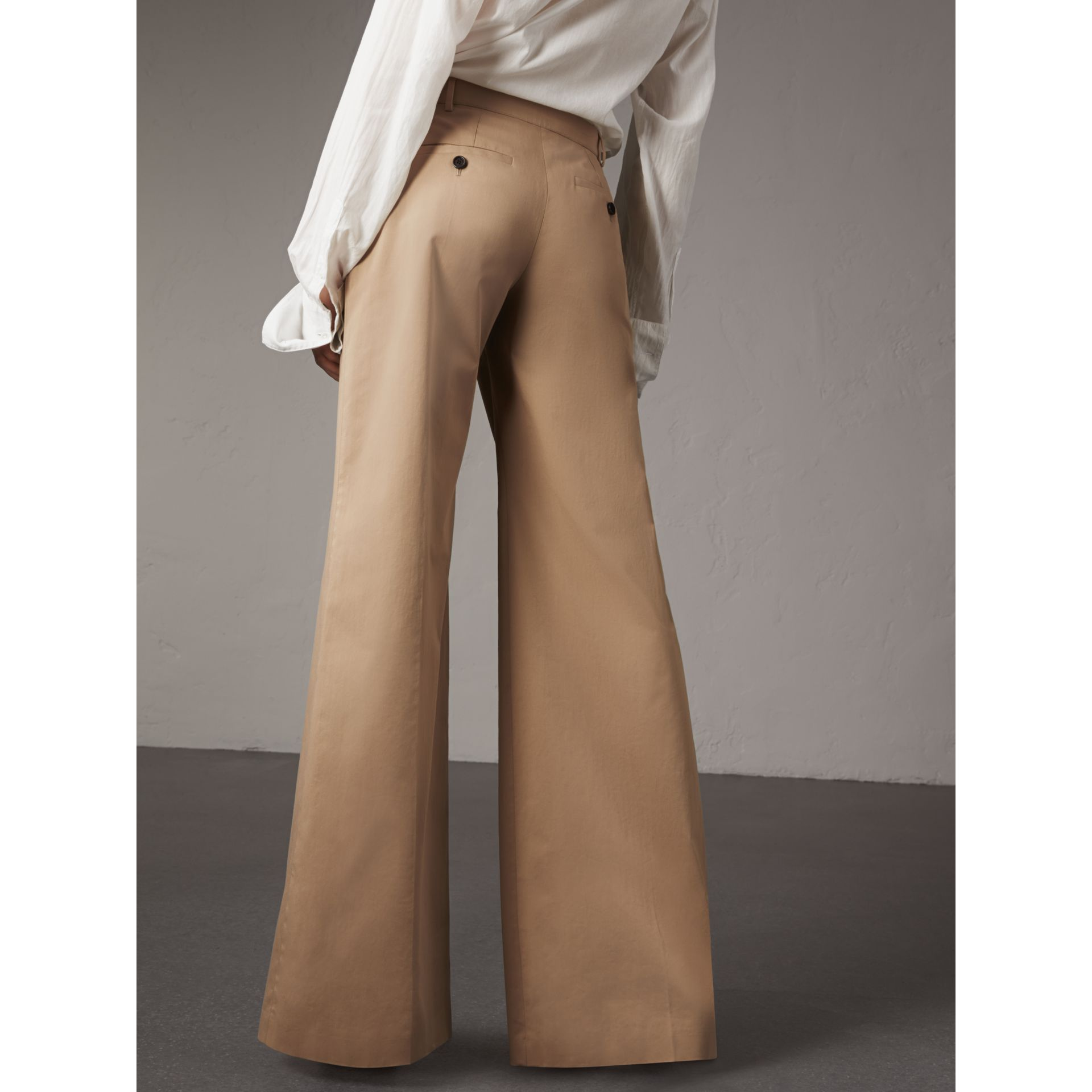 Cotton Twill Wide-leg Trousers in Camel - Women | Burberry - gallery image 2