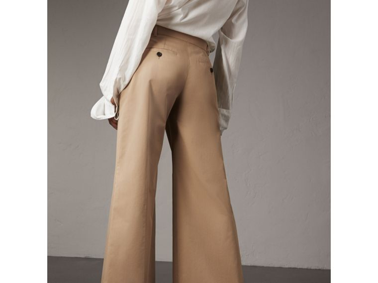 Cotton Twill Wide-leg Trousers in Camel - Women | Burberry - cell image 1