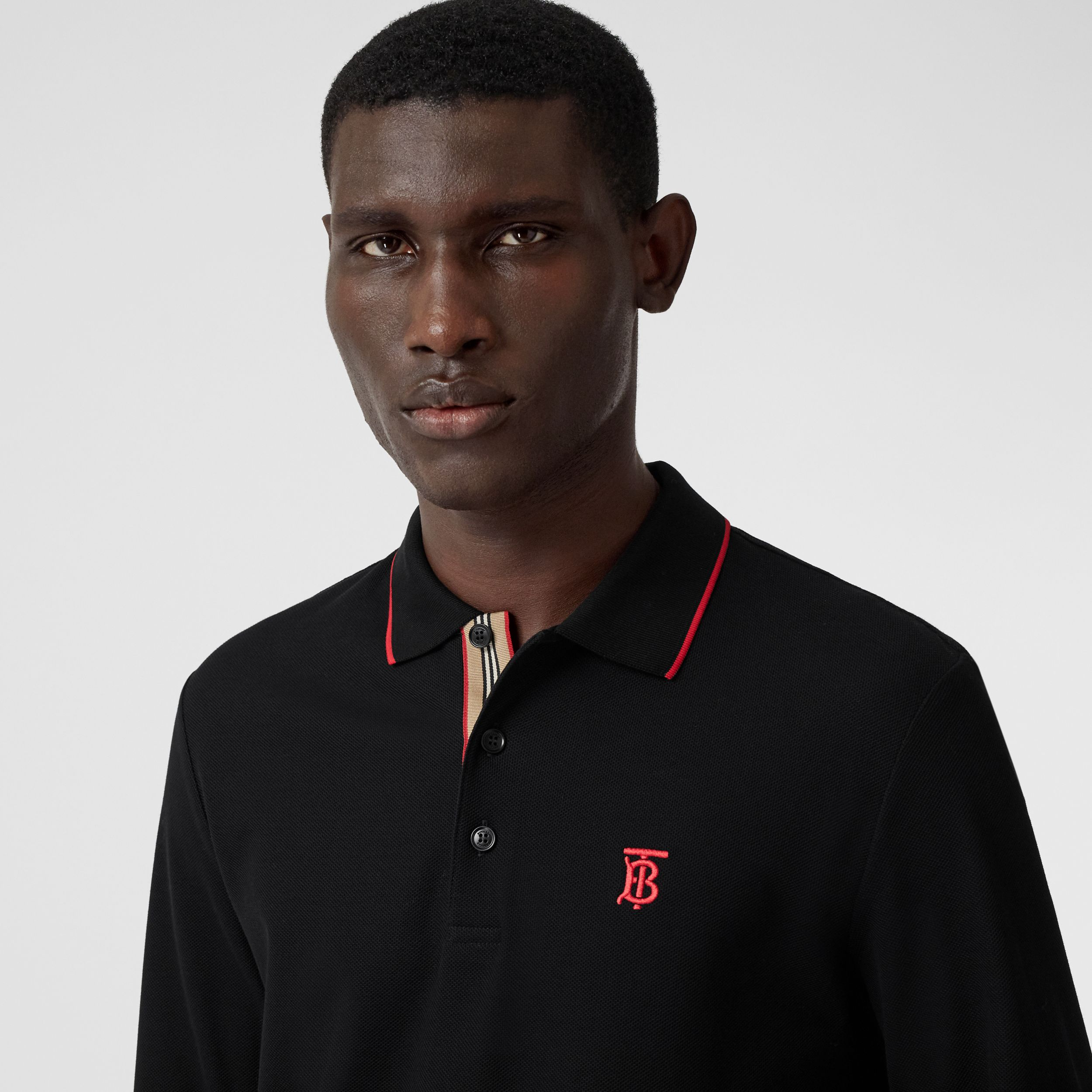 Long-sleeve Monogram Motif Cotton Piqué Polo Shirt in Black - Men | Burberry Hong Kong S.A.R. - 2