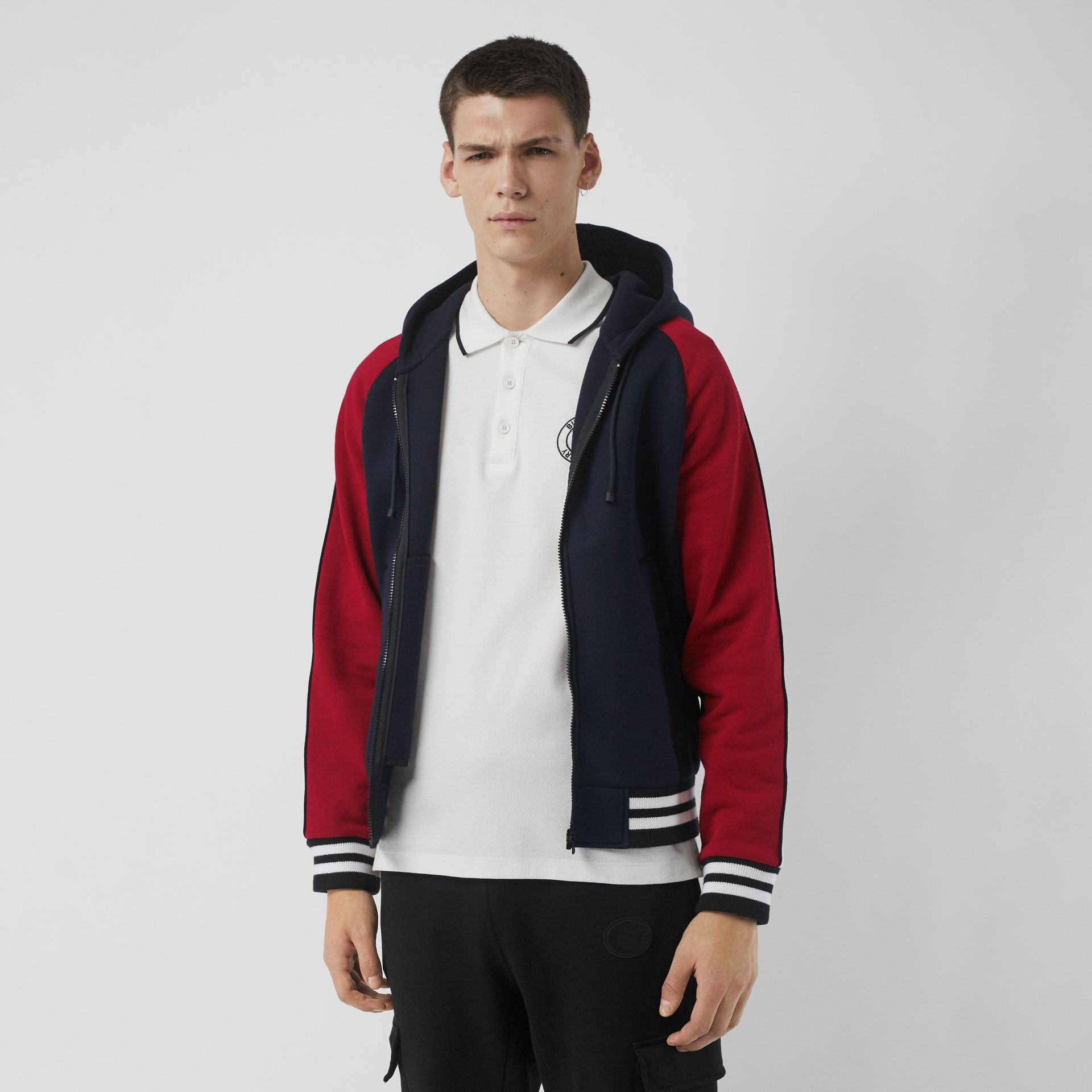Contrast Crest Neoprene Hooded Top in Navy - Men | Burberry - gallery image 4