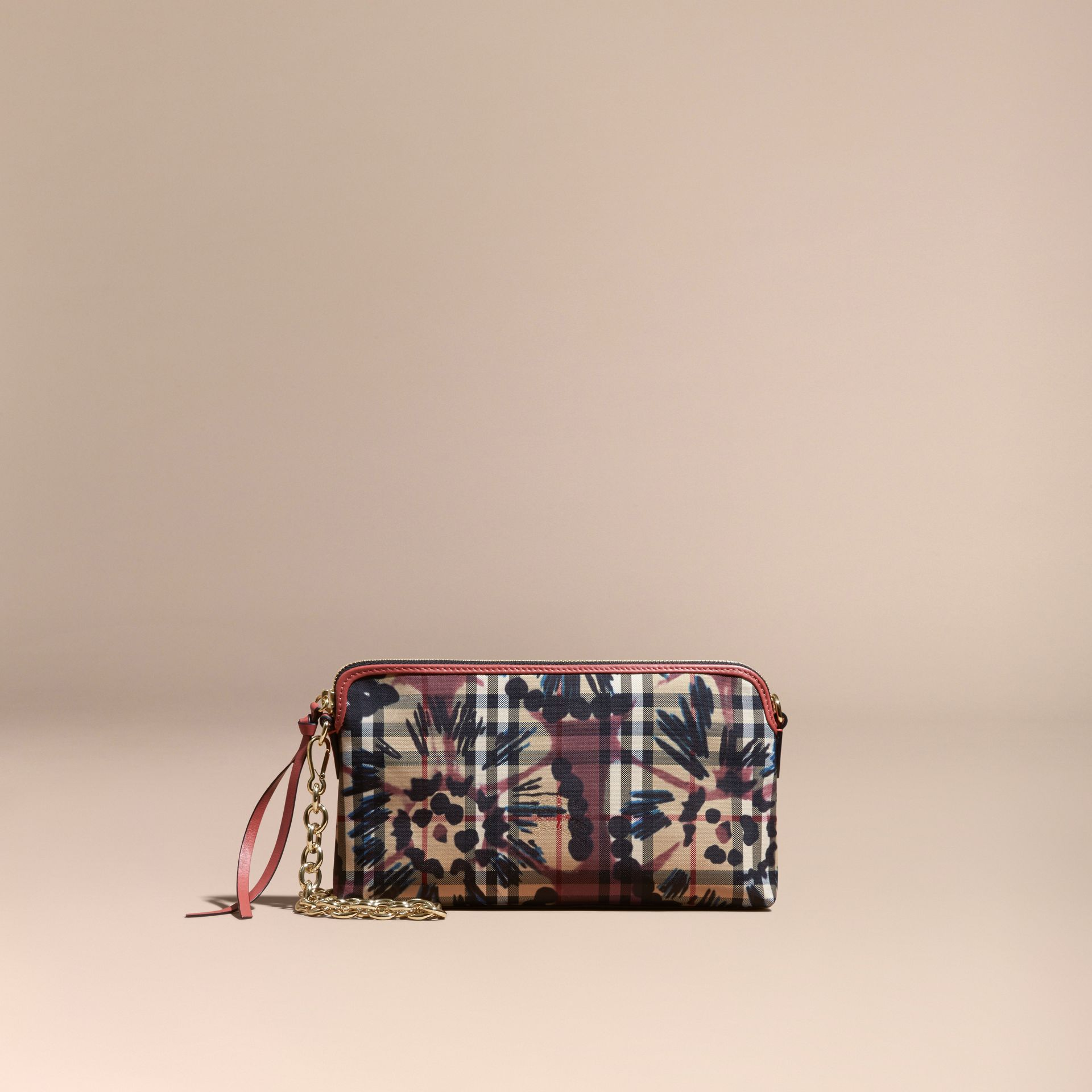 Mauve pink/antique rose Tie-dye Print Horseferry Check and Leather Clutch Bag Mauve Pink/antique Rose - gallery image 9