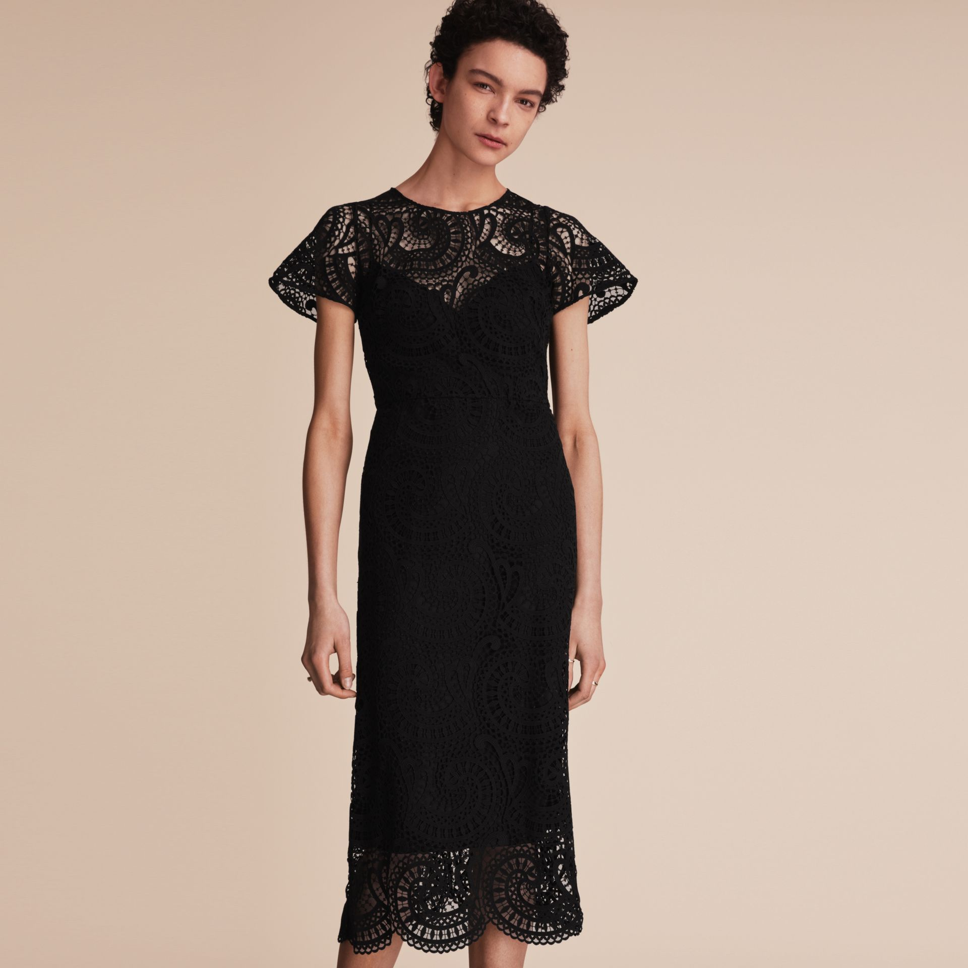 Flare-sleeve Macramé Lace Shift Dress - Women | Burberry - gallery image 6