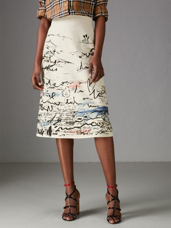 Coastal Print Cotton Linen A-line Skirt in Natural White - Women | Burberry United States - cell image 3