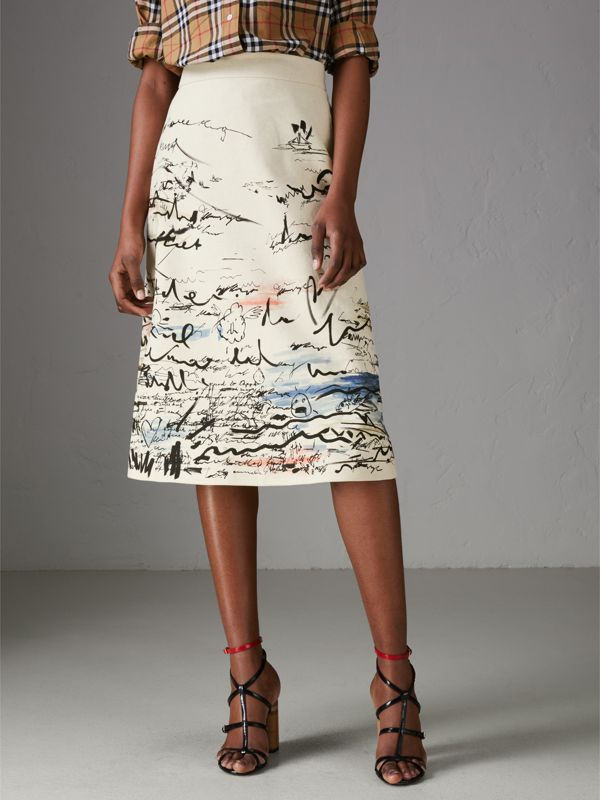 Gonna svasata in cotone e lino con stampa costiera (Bianco Naturale) - Donna | Burberry - cell image 3