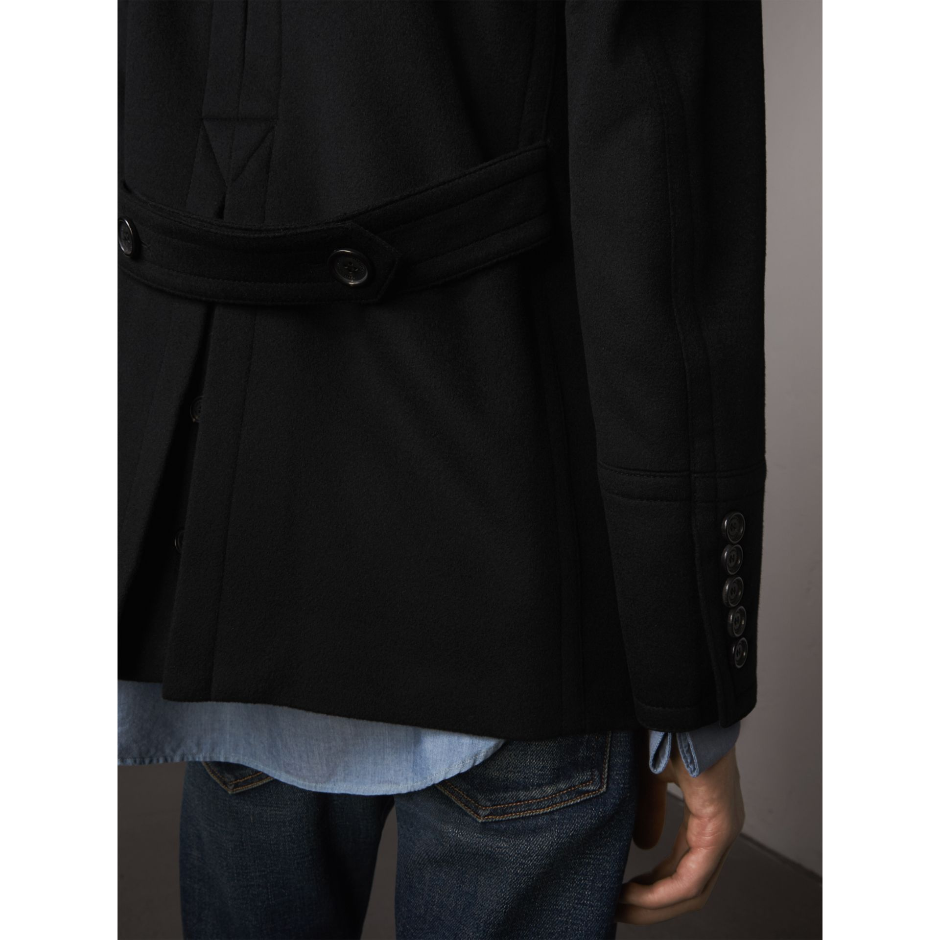 Wool Cashmere Pea Coat in Black - gallery image 5