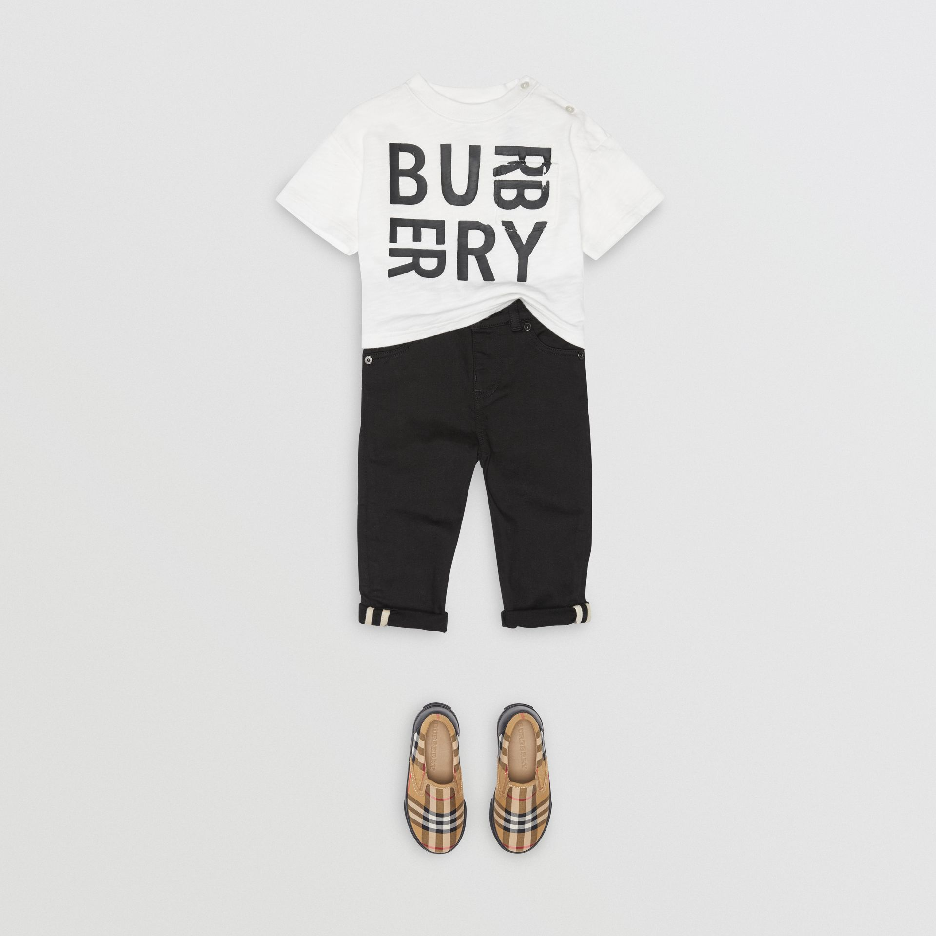 Skinny Fit Stretch Denim Jeans in Black - Children | Burberry - gallery image 2