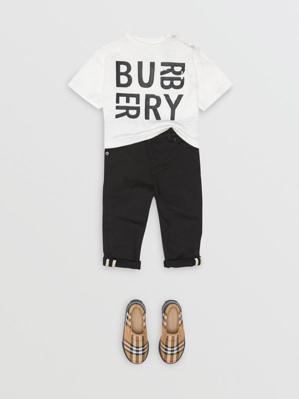 Skinny Fit Stretch Denim Jeans in Black - Children | Burberry - cell image 2