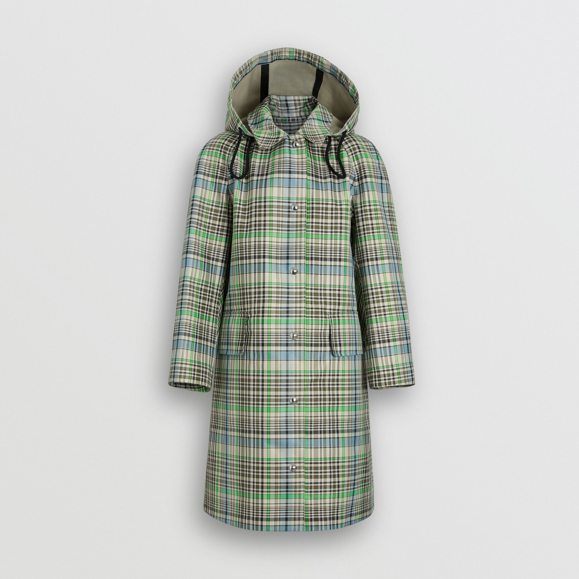 Detachable Hood Check Bonded Cotton Car Coat in Tourmaline Green - Women | Burberry United Kingdom - gallery image 3