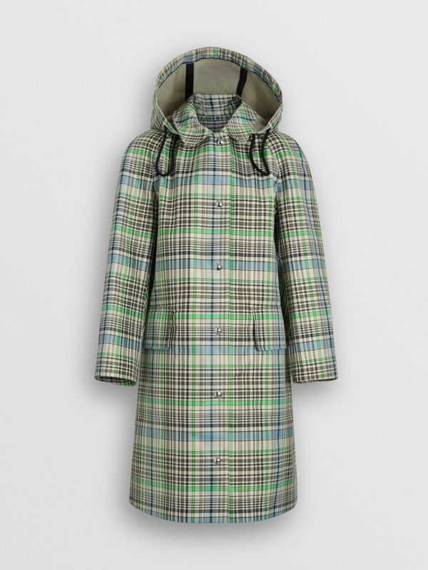 Detachable Hood Check Bonded Cotton Car Coat in Tourmaline Green - Women | Burberry United Kingdom - cell image 3