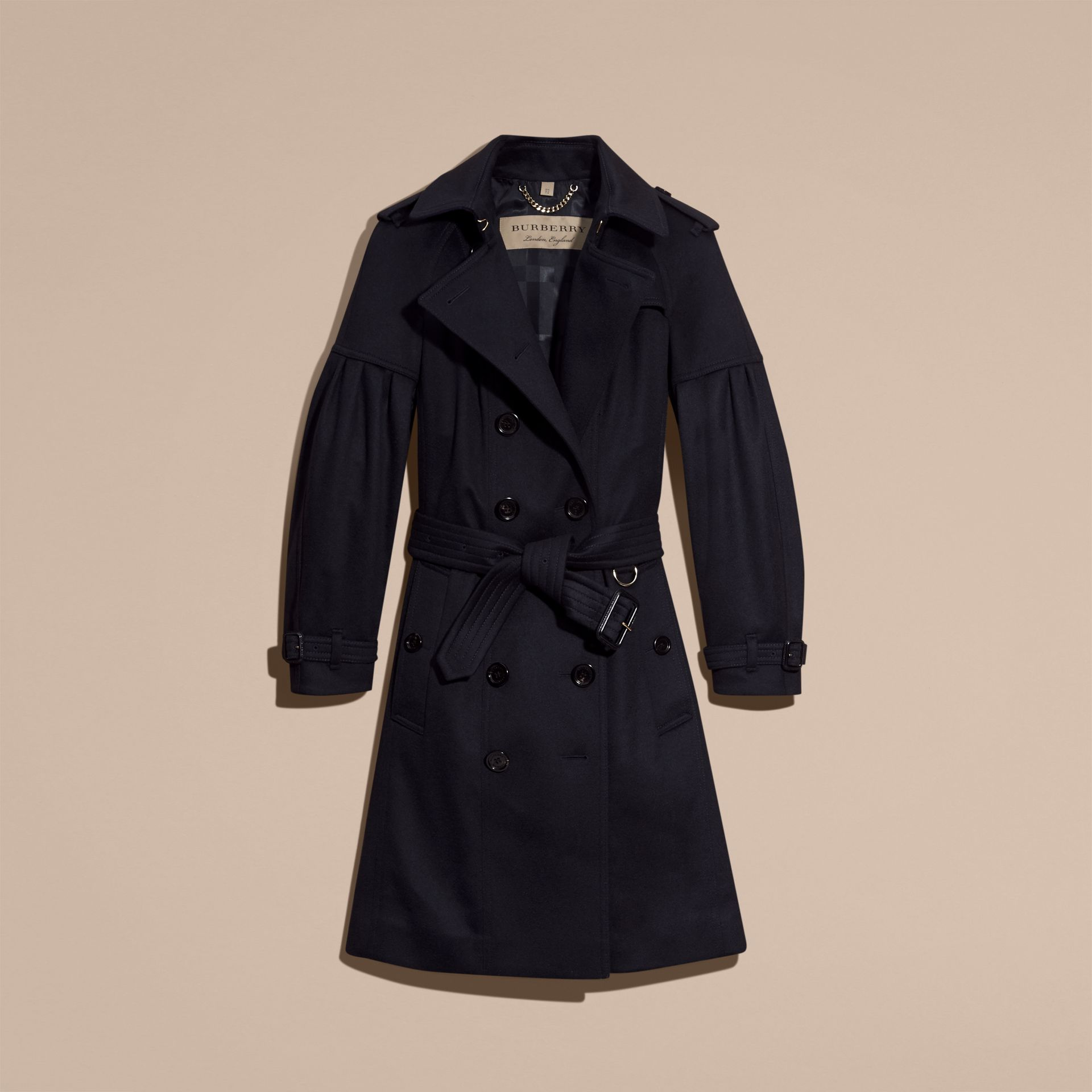 Navy Cashmere Trench Coat with Puff Sleeves Navy - gallery image 4