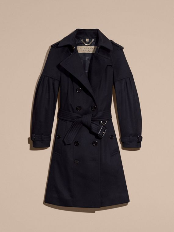 Cashmere Trench Coat with Puff Sleeves in Navy - cell image 3