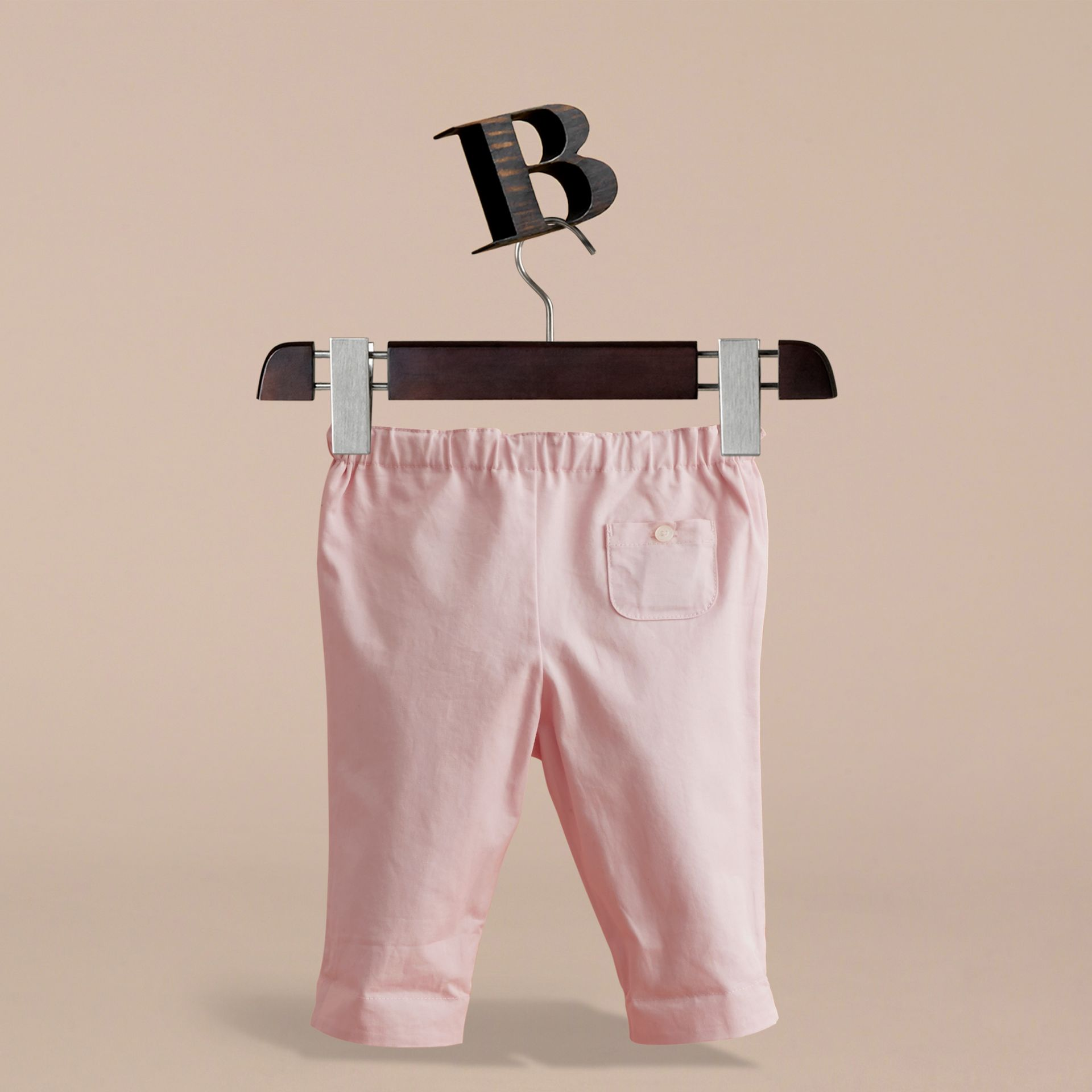 Check Turn-Up Cotton Trousers in Light Pink | Burberry - gallery image 4