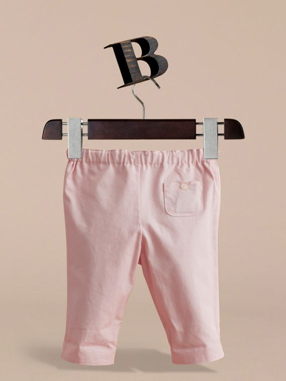 Check Turn-Up Cotton Trousers in Light Pink | Burberry - cell image 3