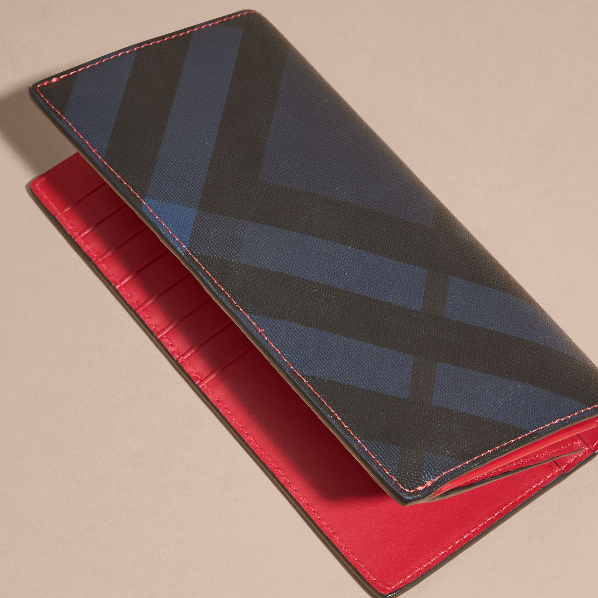 Parade red London Check and Leather Continental Wallet Parade Red - gallery image 4