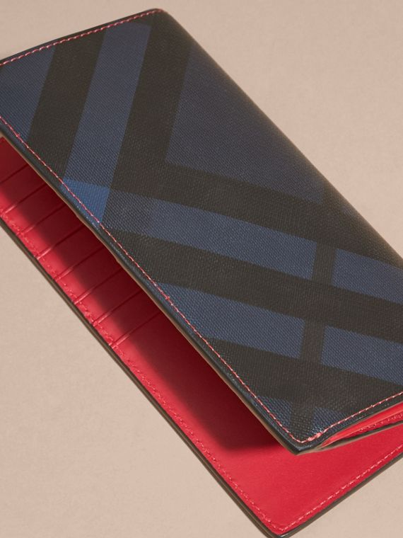 London Check and Leather Continental Wallet in Parade Red - cell image 3