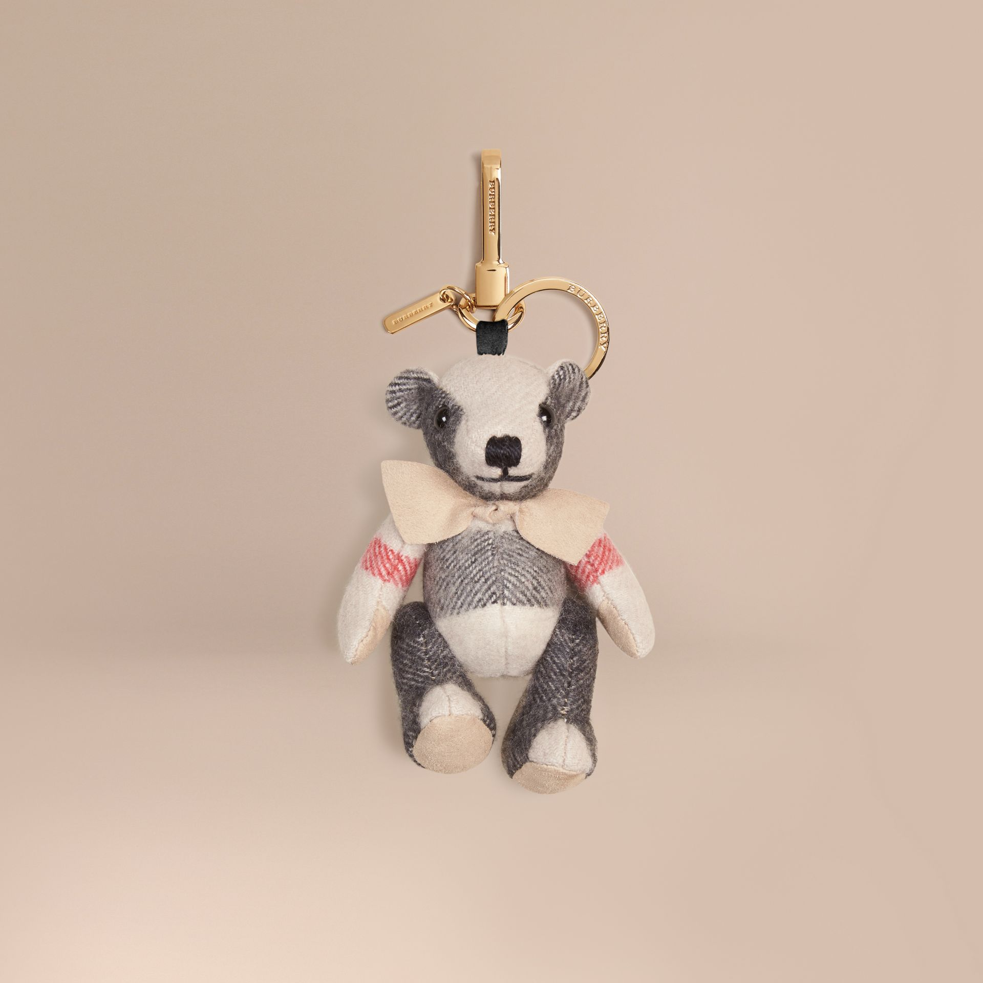 Stone Thomas Bear Charm in Check Cashmere Stone - gallery image 1