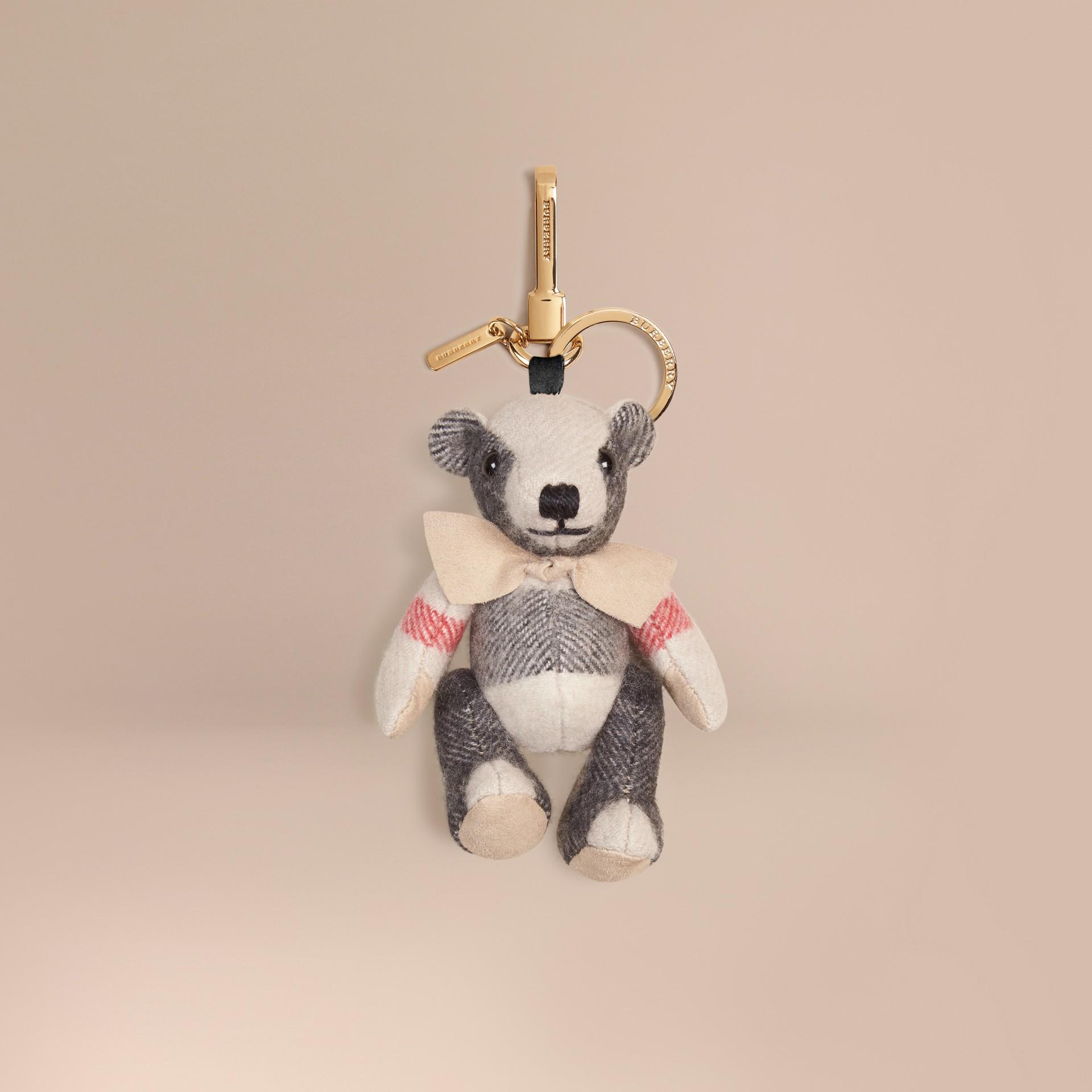 Stone Bijou porte-clés Thomas Bear en cachemire à motif check Stone - photo de la galerie 1