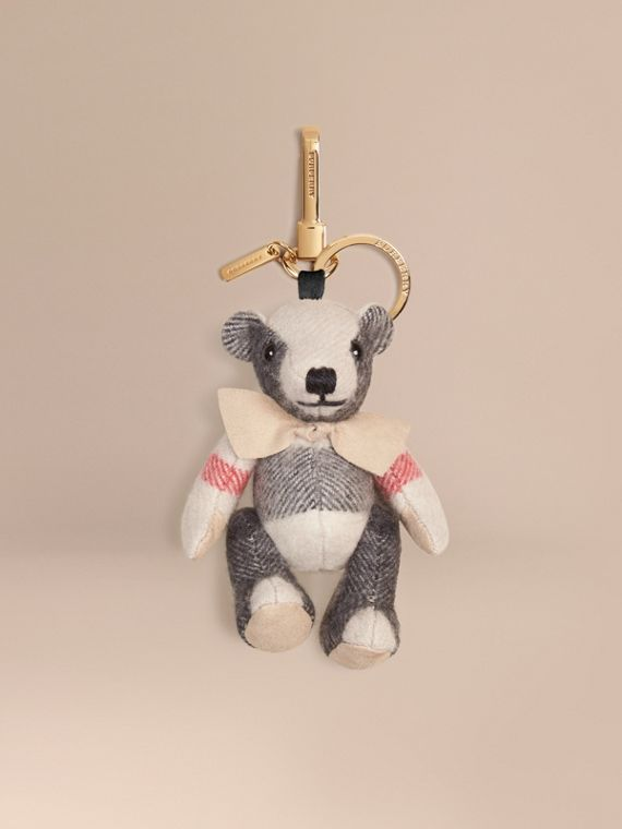 Thomas Bear Charm in Check Cashmere Stone