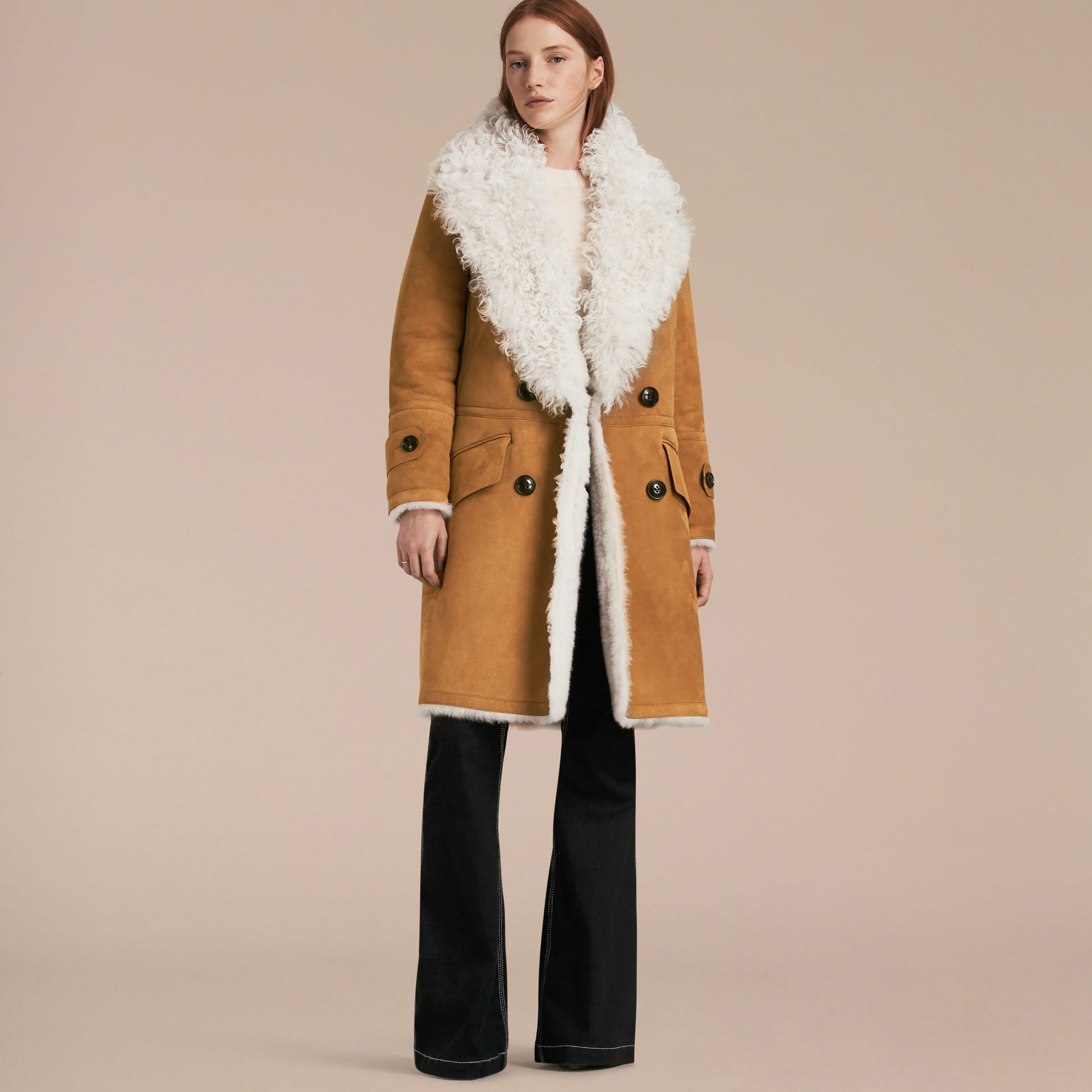 Ecru/tan Double-breasted Shearling Coat - gallery image 7