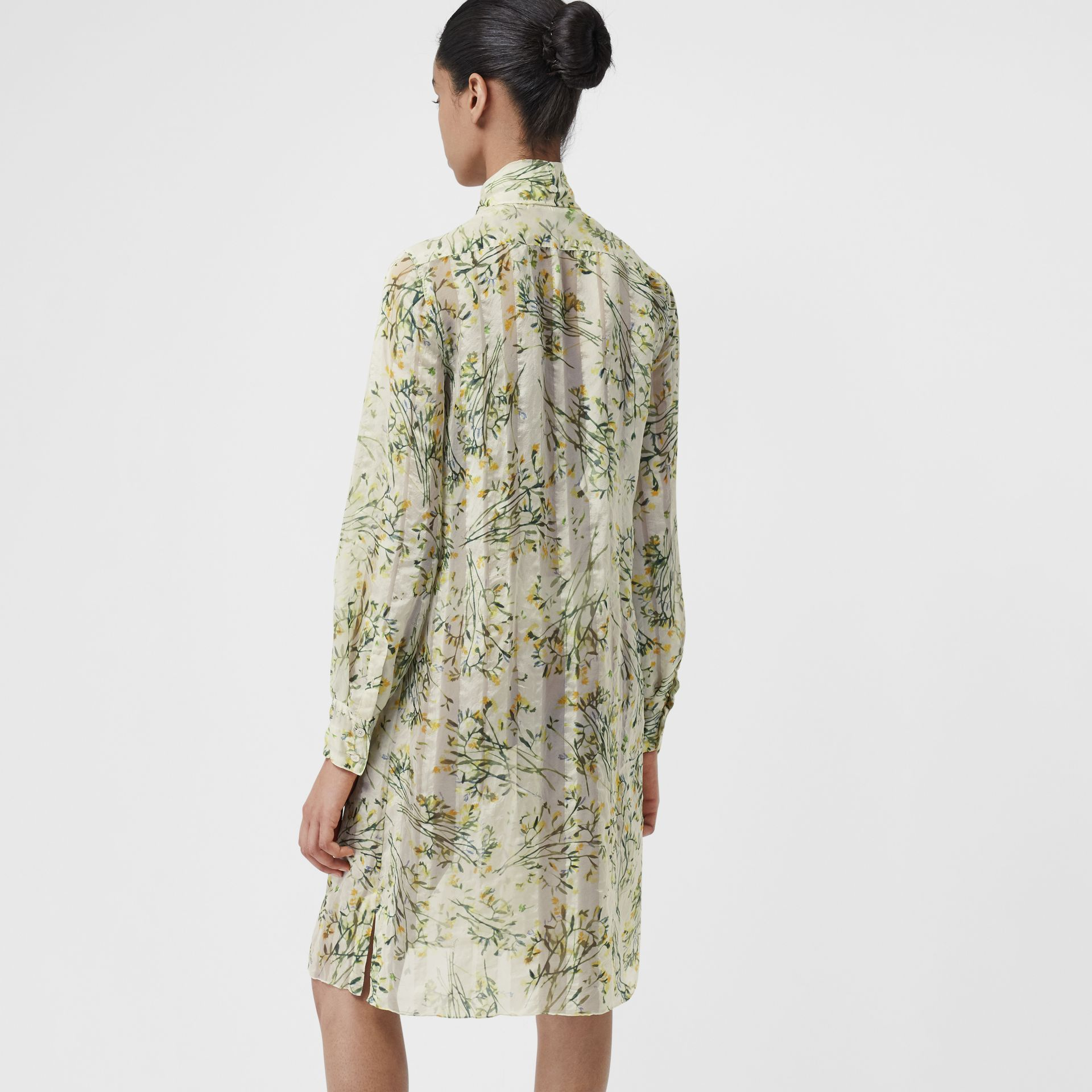 Floral Print Organza Tie-neck Shirt Dress in Lawn Green - Women | Burberry United Kingdom - gallery image 2