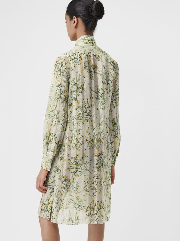 Floral Print Organza Tie-neck Shirt Dress in Lawn Green - Women | Burberry - cell image 2