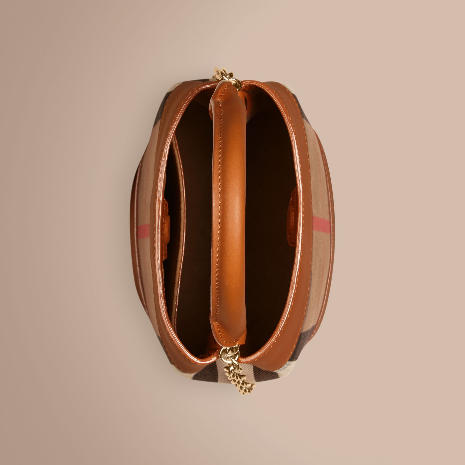 Light toffee The Small Bucket Bag in House Check and Leather Light Toffee - gallery image 5