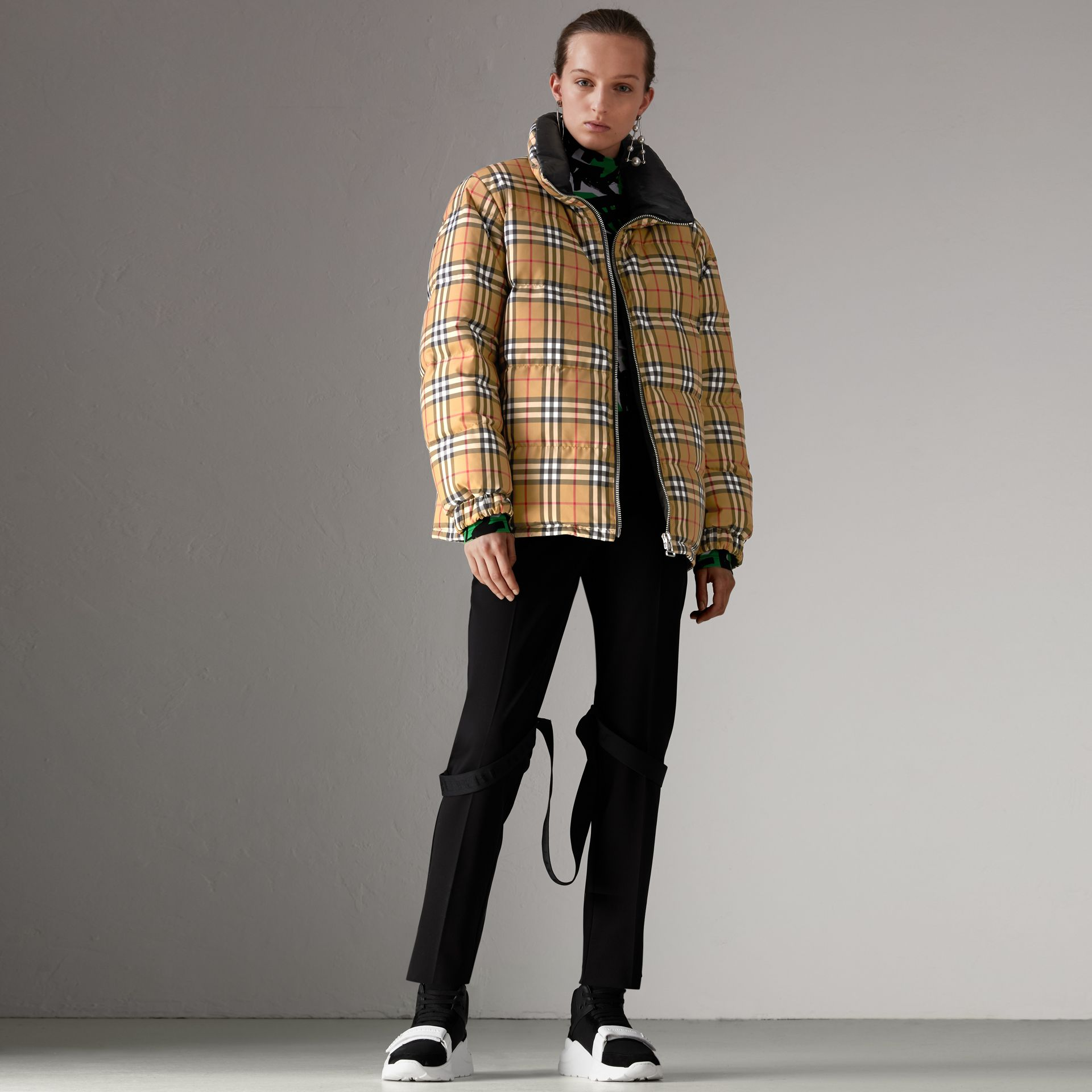 Vintage Check Reversible Puffer Jacket in Antique Yellow - Women | Burberry Hong Kong - gallery image 0