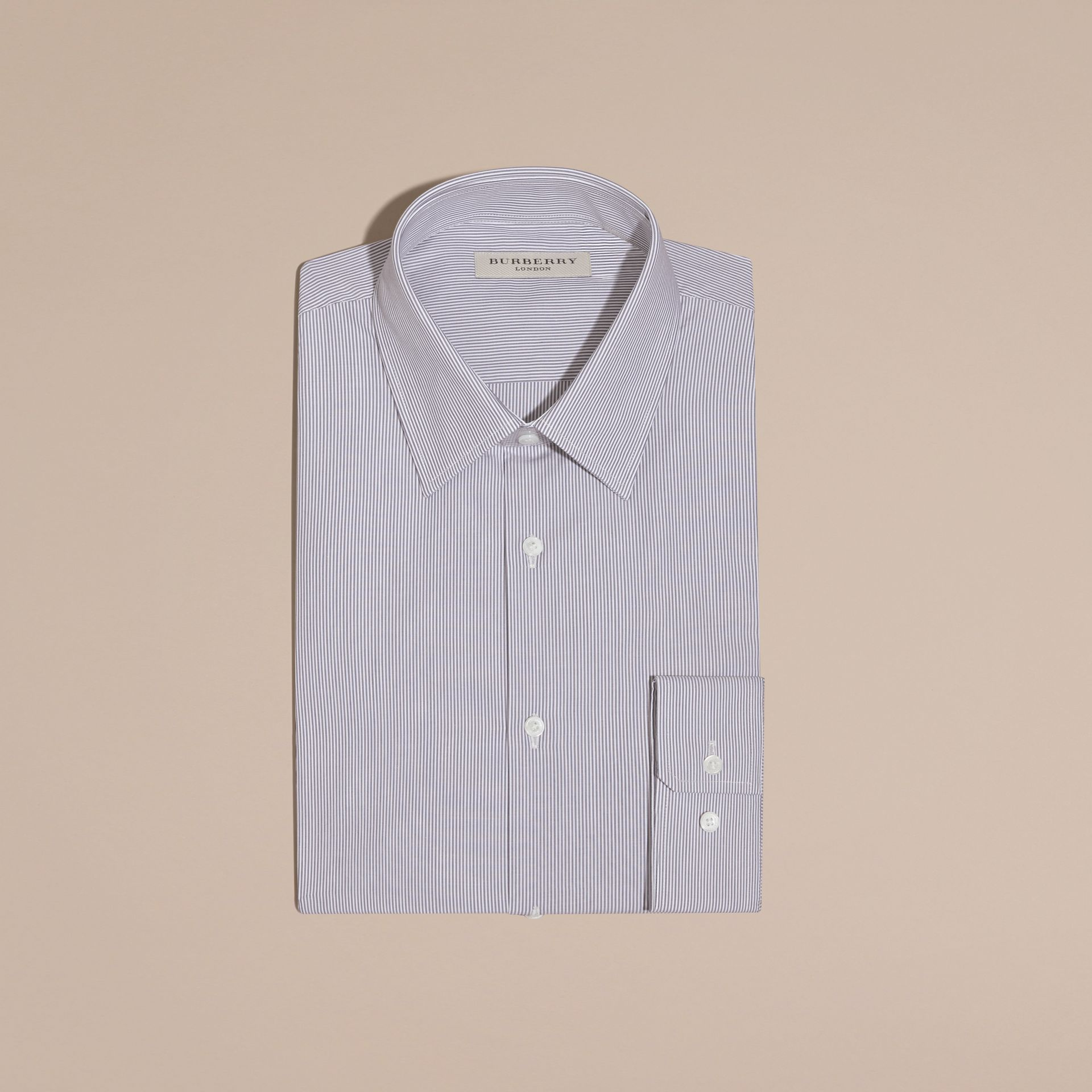 Modern Fit Striped Cotton Poplin Shirt in Dark Empire Blue - gallery image 3