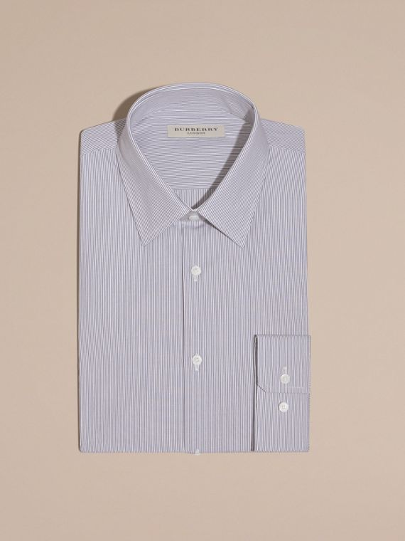 Modern Fit Striped Cotton Poplin Shirt in Dark Empire Blue - cell image 2
