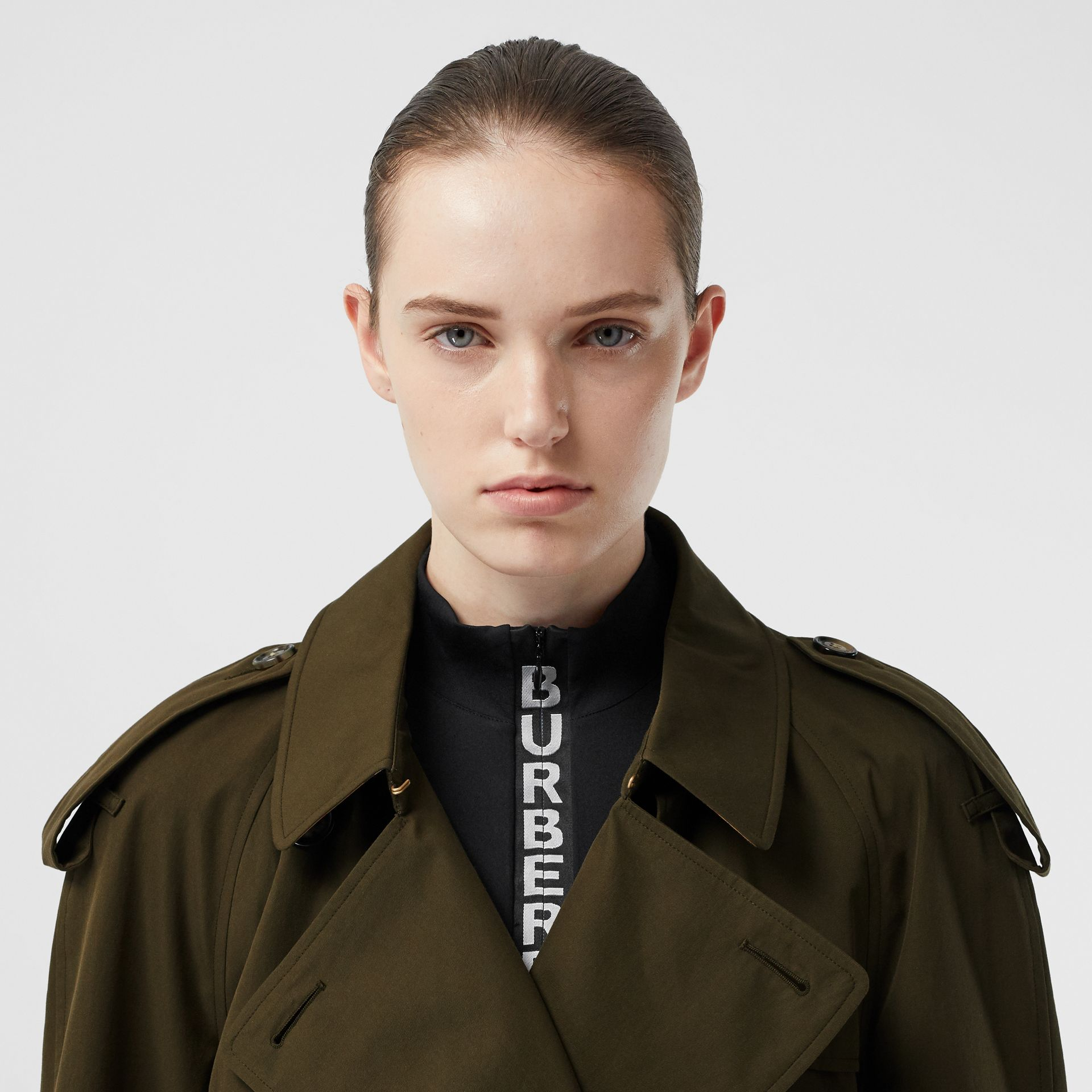 Tropical Gabardine Mid-length Trench Coat in Dark Military Khaki - Women | Burberry - gallery image 1
