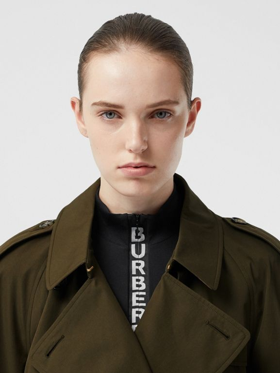 Tropical Gabardine Mid-length Trench Coat in Dark Military Khaki - Women | Burberry - cell image 1
