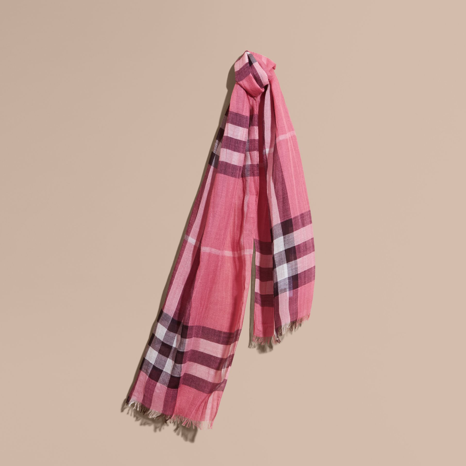 Exploded Check Wool Silk Scarf Rose Pink - gallery image 1