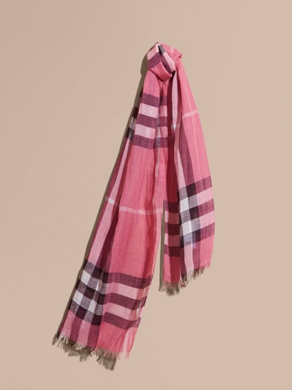 Exploded Check Wool Silk Scarf Rose Pink