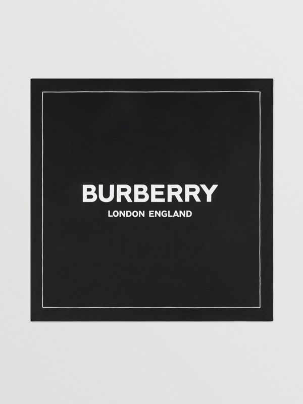 Logo Print Cotton Baby Blanket in Black - Children | Burberry - cell image 2