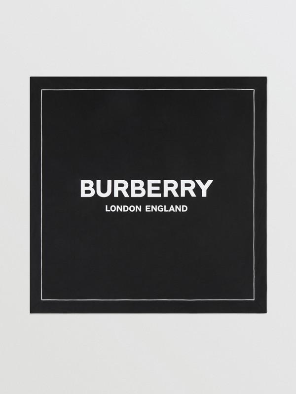 Logo Print Cotton Baby Blanket in Black - Children | Burberry United Kingdom - cell image 2