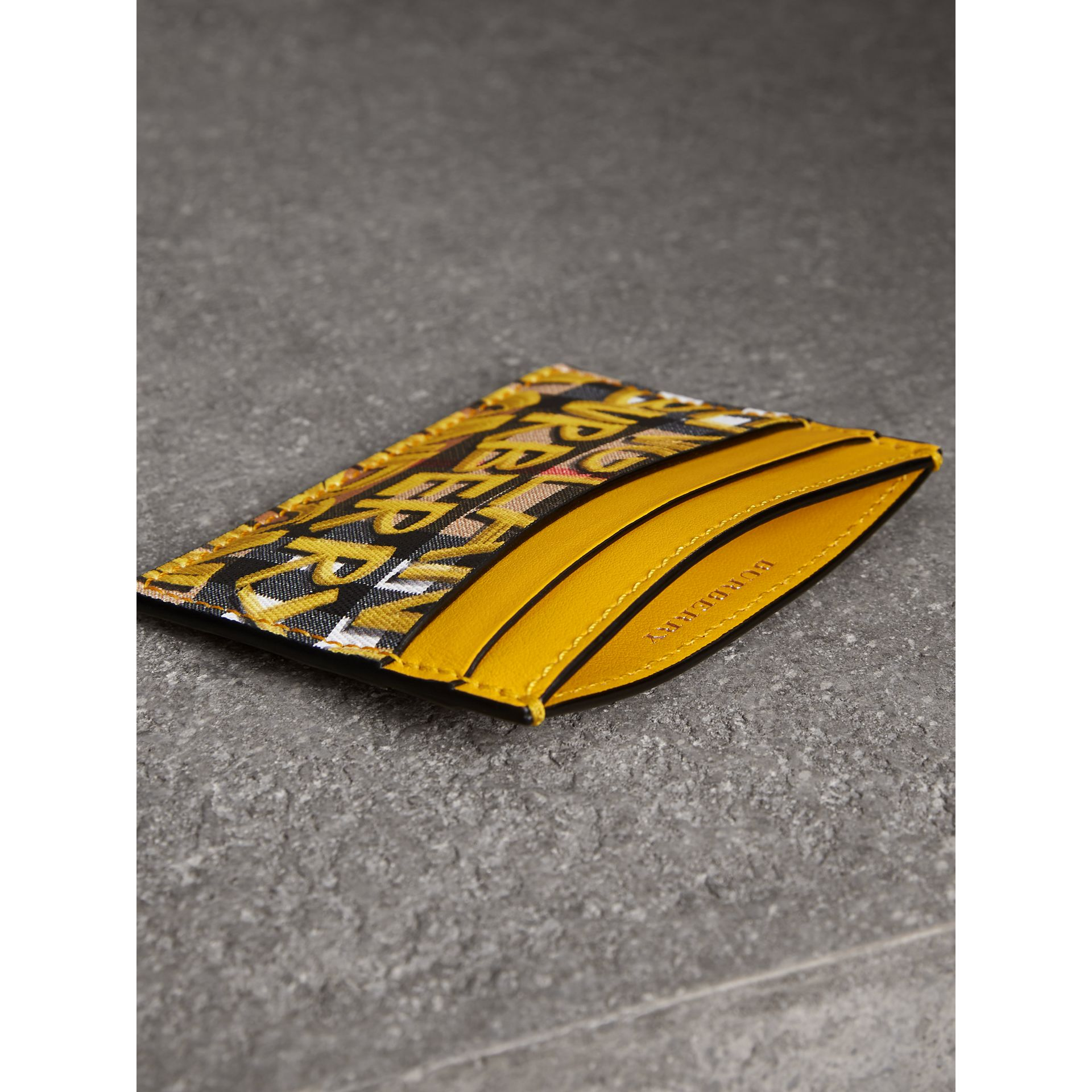 Graffiti Print Vintage Check Leather Card Case in Yellow | Burberry - gallery image 3