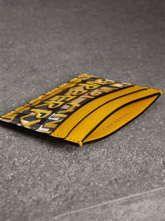 Graffiti Print Vintage Check Leather Card Case in Yellow | Burberry Singapore - cell image 3