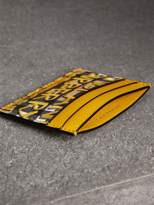Graffiti Print Vintage Check Leather Card Case in Yellow | Burberry - cell image 3