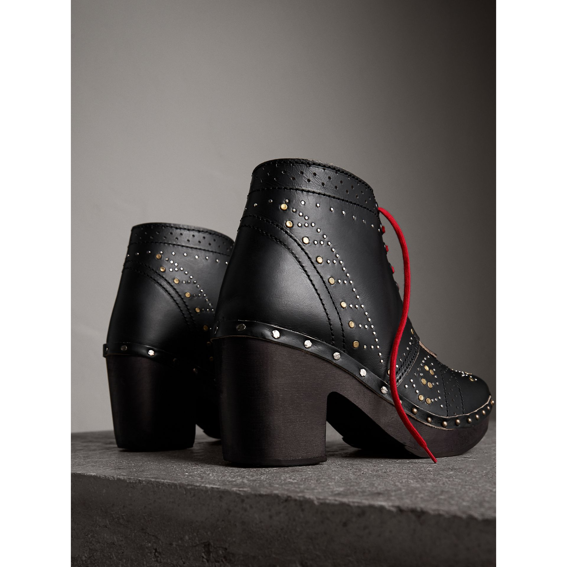Riveted Leather Heeled Clog Boots in Black - Women | Burberry - gallery image 3