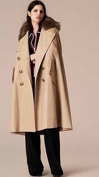 Raccoon Collar Cotton Trench Cape