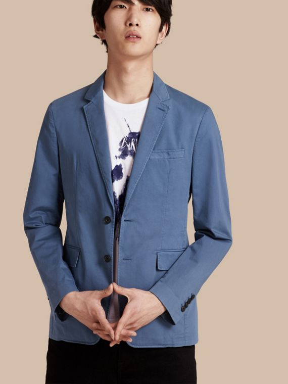 Slim Fit Stretch-cotton Blazer Bright Steel Blue