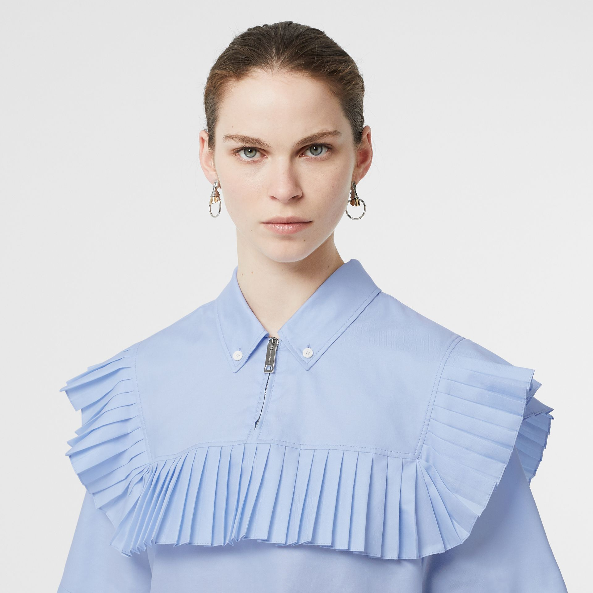 Short-sleeve Pleat Detail Cotton Oversized Shirt in Baby Blue - Women | Burberry - gallery image 1