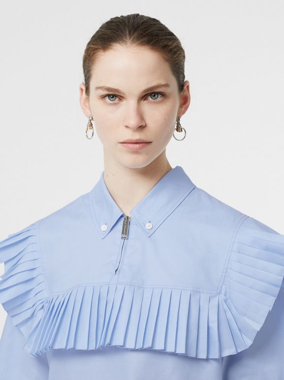 Short-sleeve Pleat Detail Cotton Oversized Shirt in Baby Blue - Women | Burberry - cell image 1