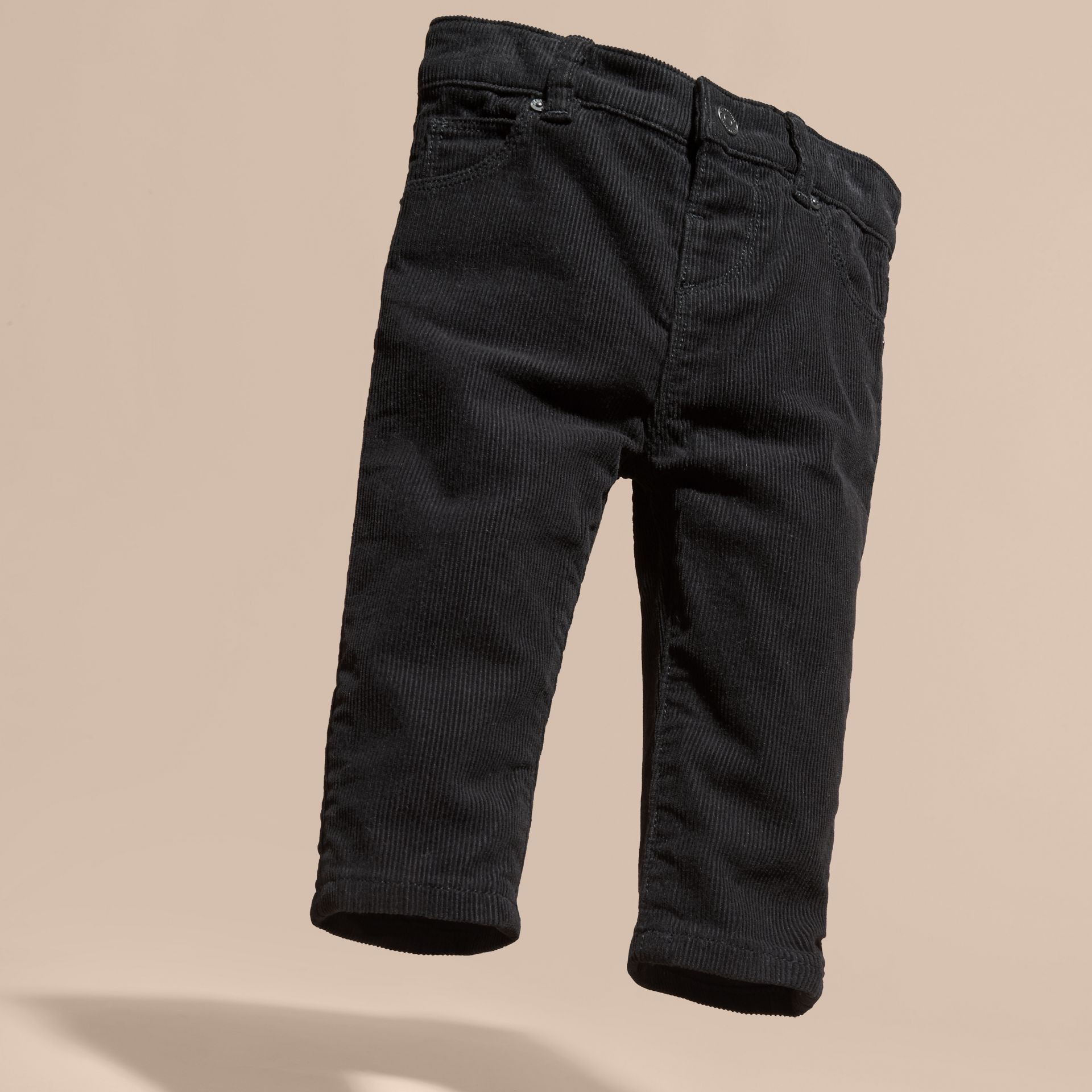 Black Stretch Corduroy Trousers - gallery image 3