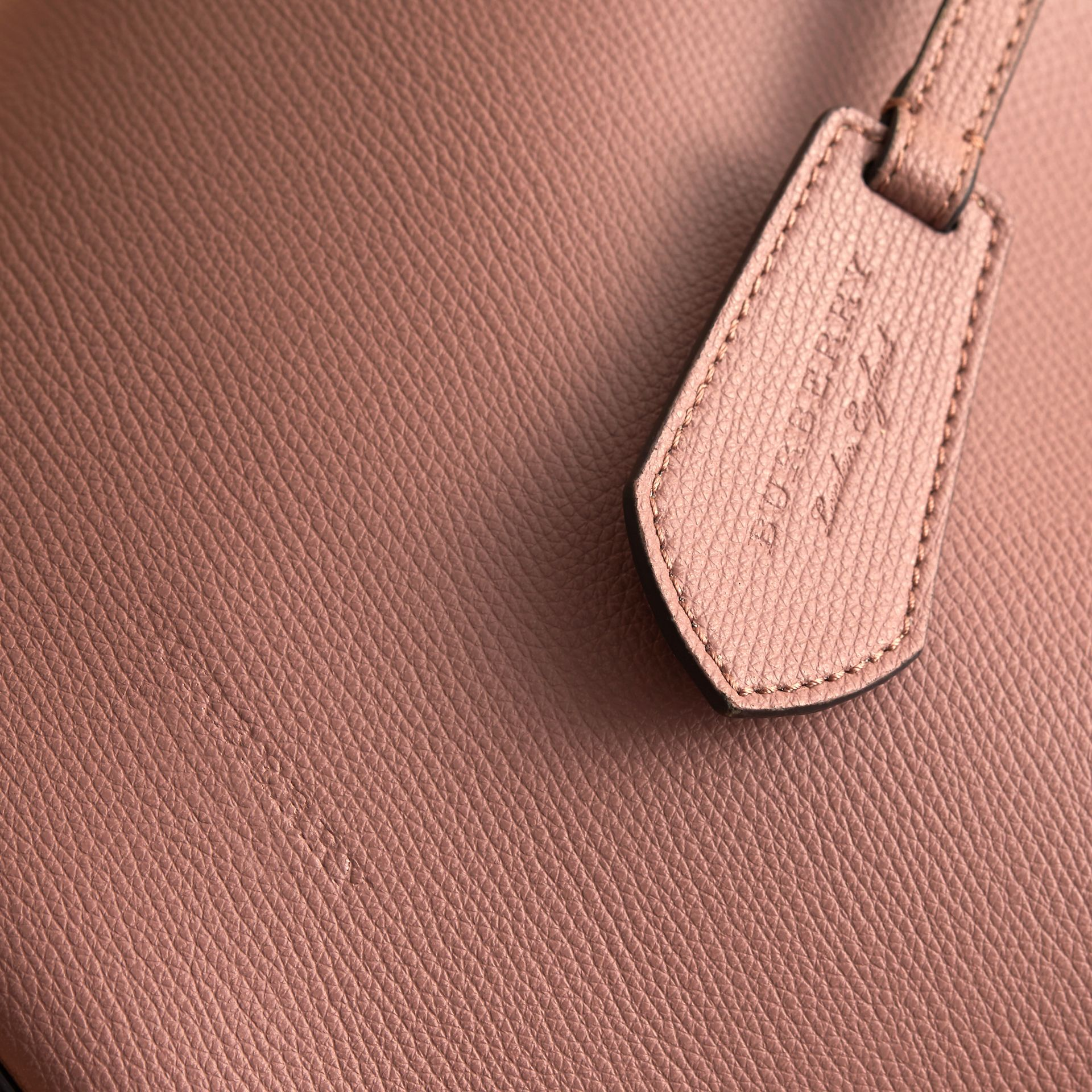 Leather and Haymarket Check Crossbody Bucket Bag in Light Elderberry - Women | Burberry - gallery image 1