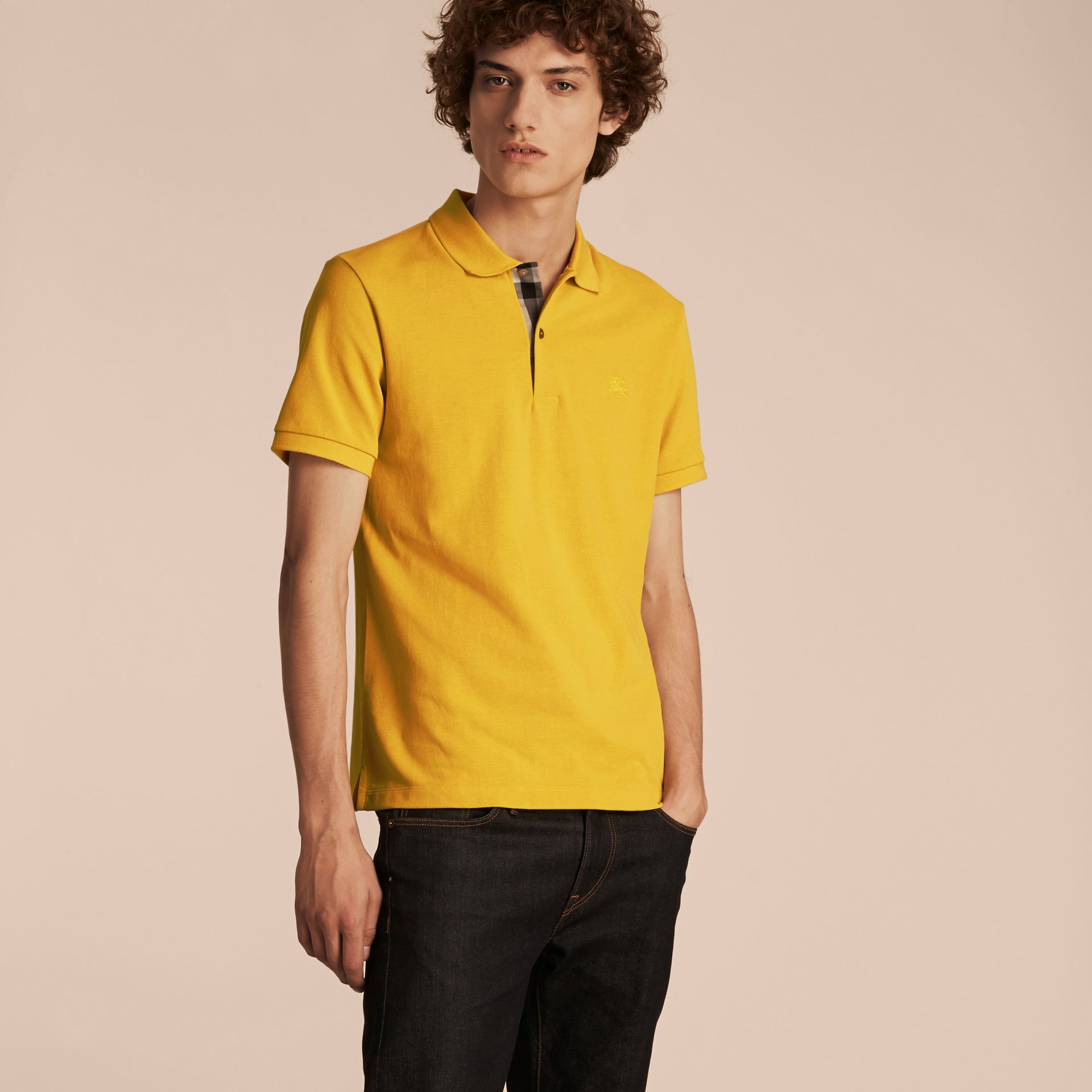 Check Placket Cotton Piqué Polo Shirt in Daffodil - gallery image 6