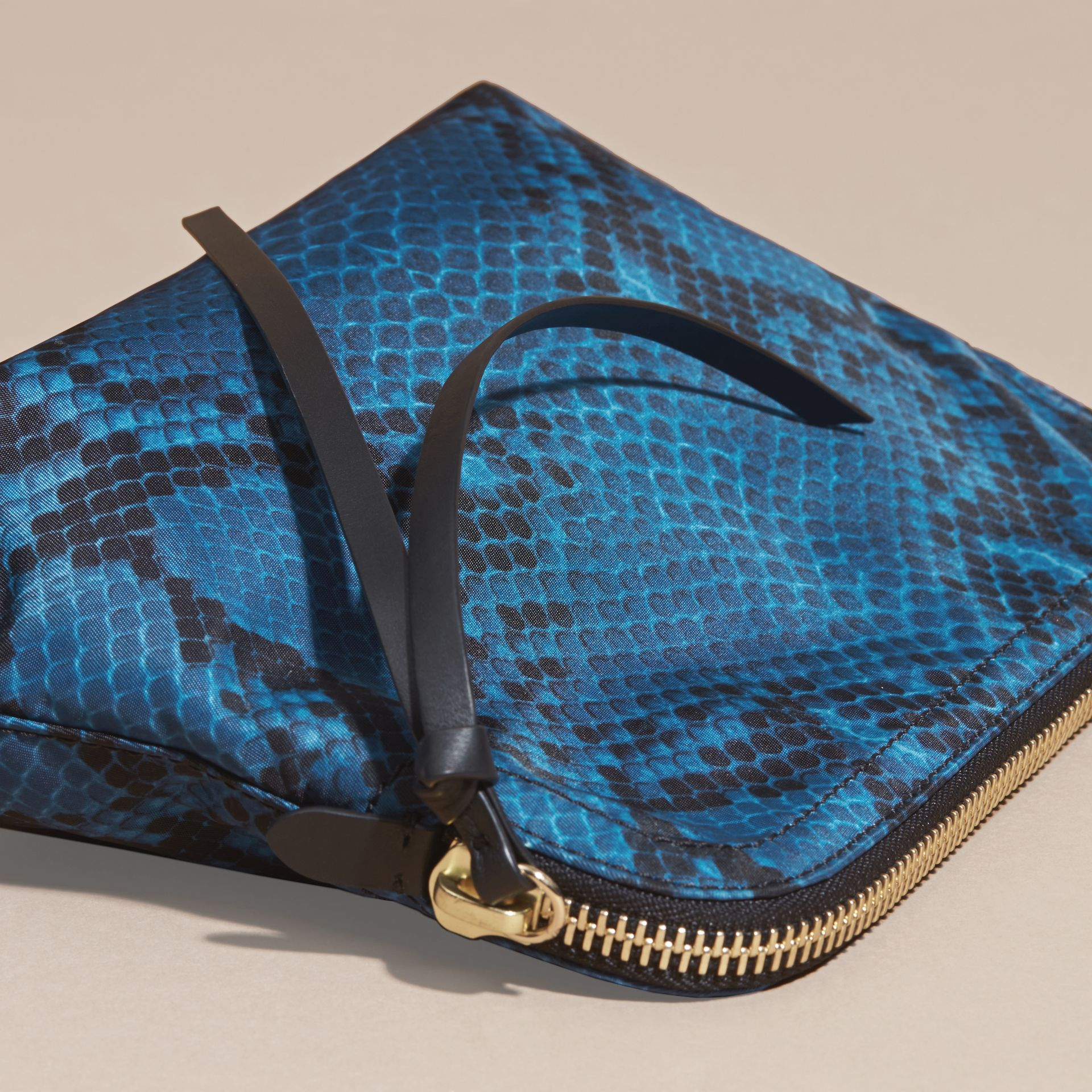 Large Zip-top Python-print Technical Nylon Pouch Mineral Blue - gallery image 4