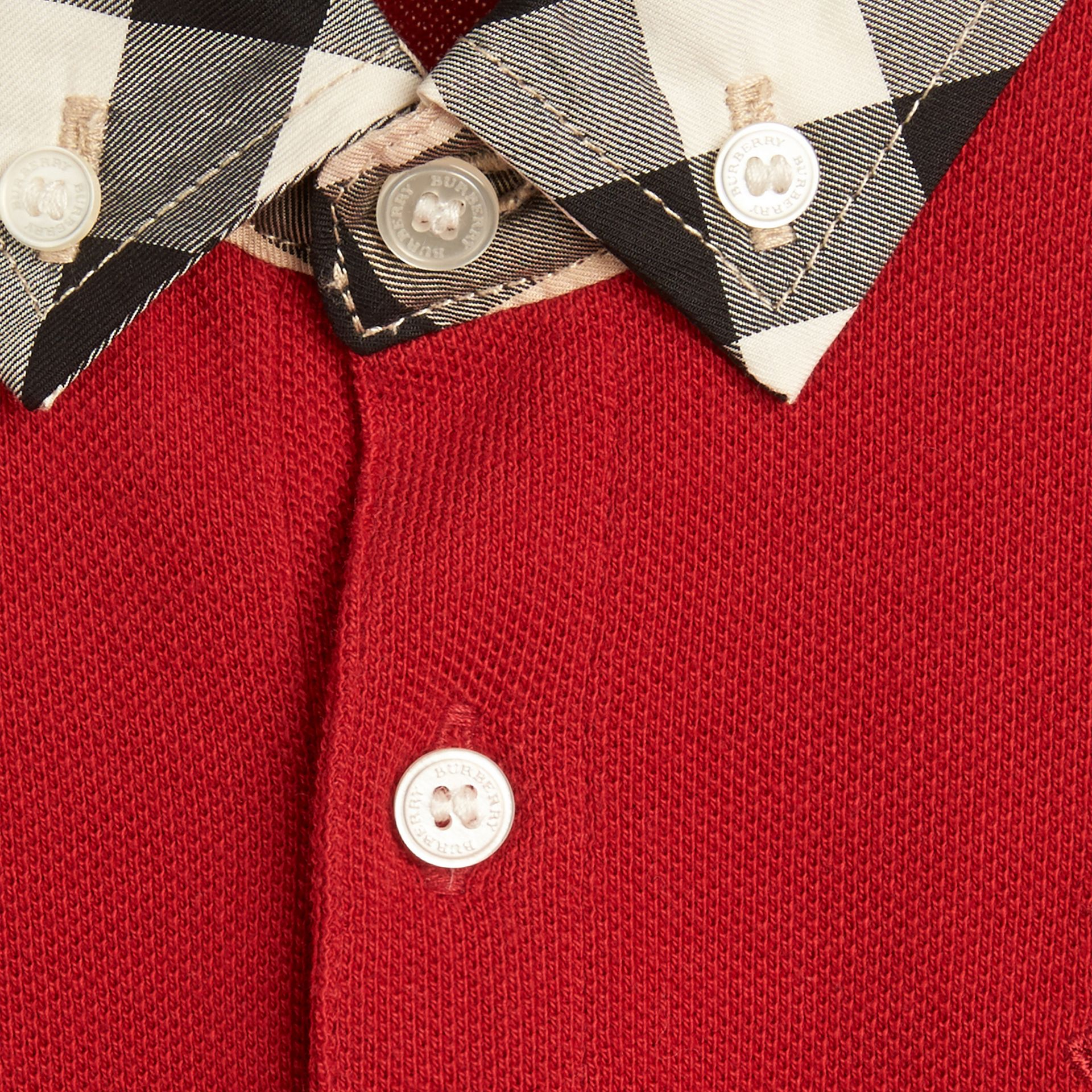 Check Collar Polo Shirt in Military Red - Boy | Burberry - gallery image 1