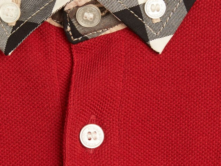 Check Collar Polo Shirt in Military Red - Boy | Burberry - cell image 1